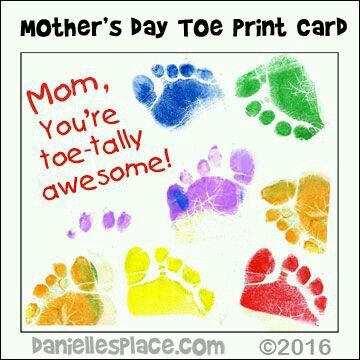 Mother's Day Toe Print Card