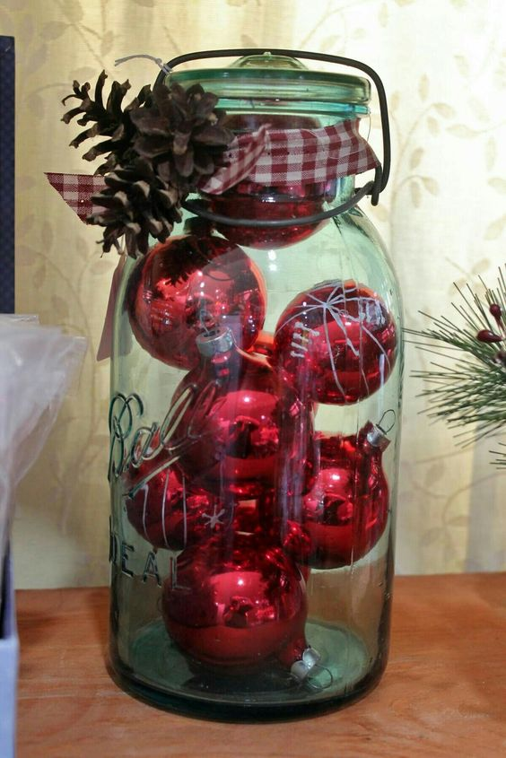 Large mason jar centerpiece