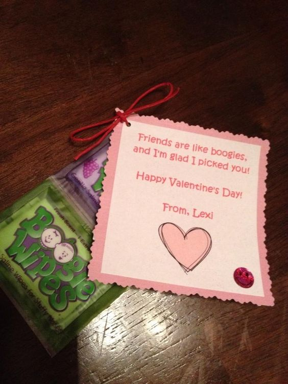Valentines for infant or toddler daycare party - Boogie Wipe