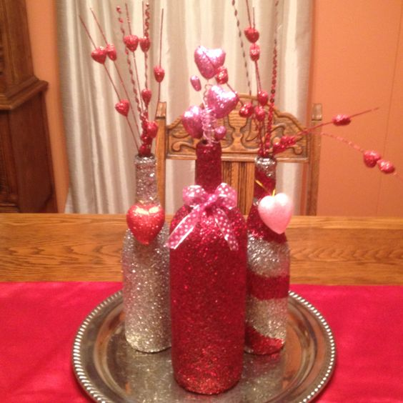 Glitter Bottle Vases
