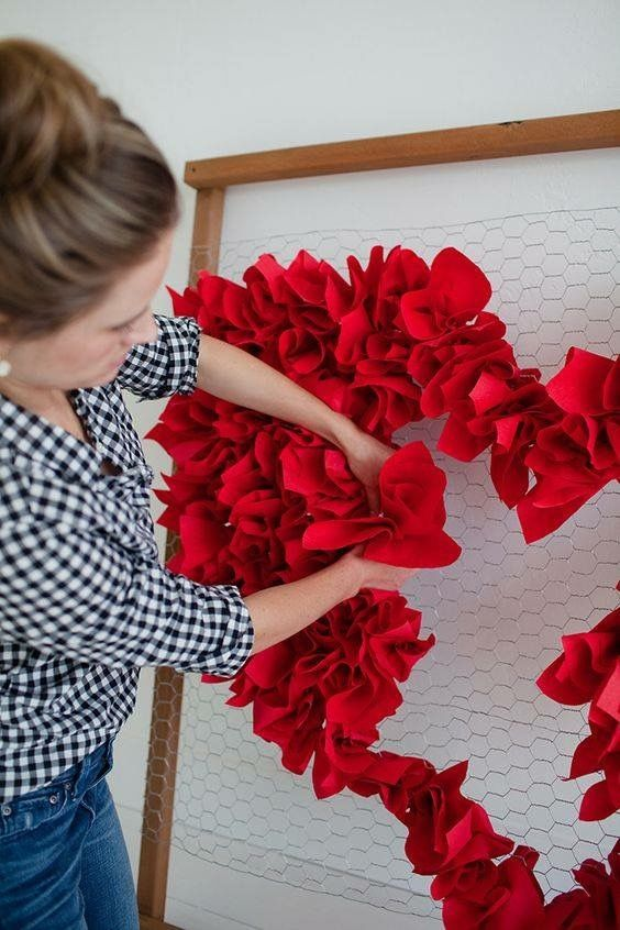 Heart Shaped Paper Flower Backdrop