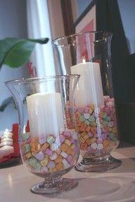 Valentine decor candles