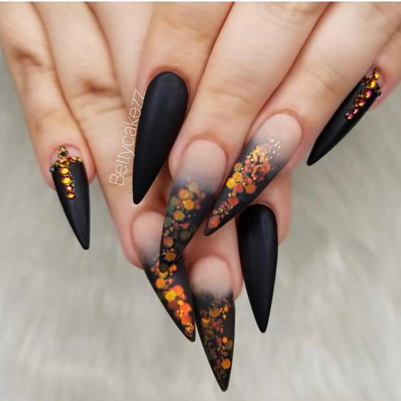 Black & Orange Stiletto Nails