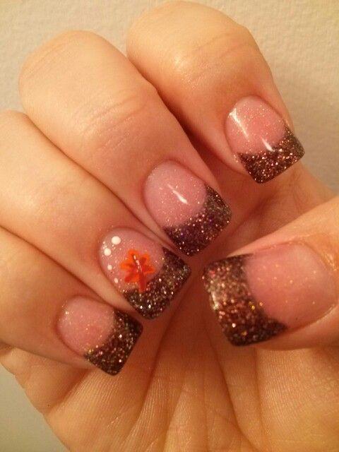 Brown Glitter Tips
