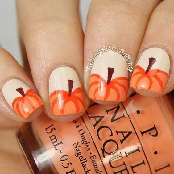 Easy Pumpkin Nail Art
