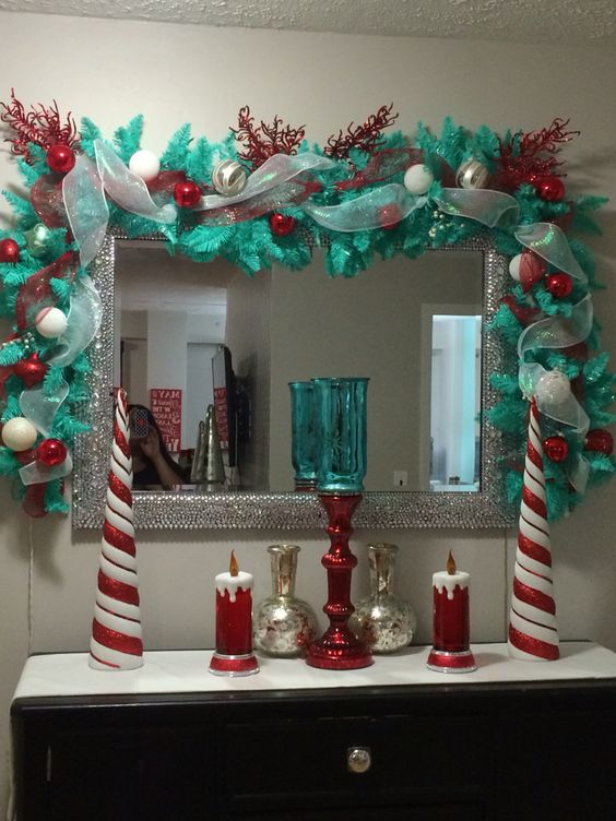Teal and Red Christmas Decor
