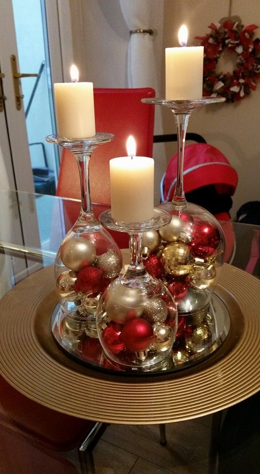 Upside down wineglass centerpiece