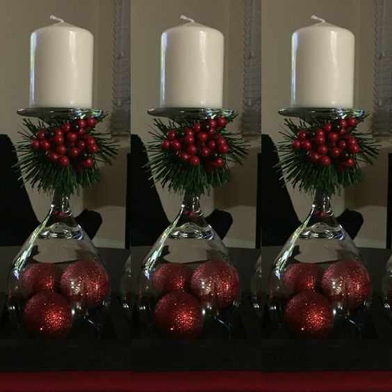 Wine Glass Christmas Centerpiece
