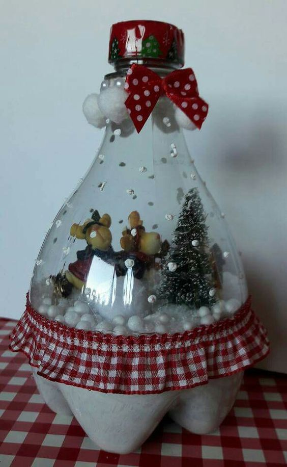 Plastic Bottle Snow Globe