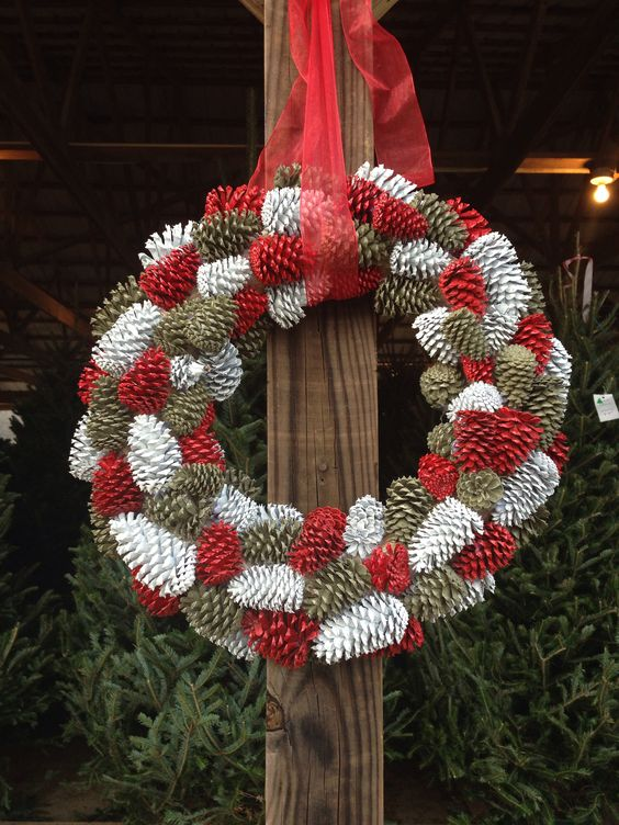 Red & White Pinecone Wreath