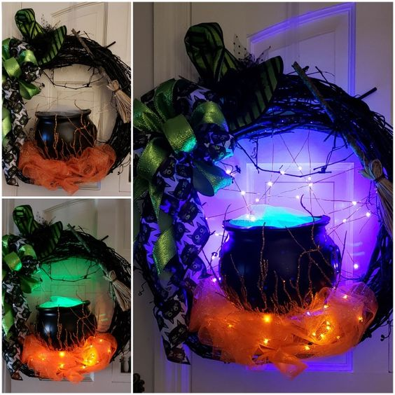 Lighted Witch Cauldron Wreath