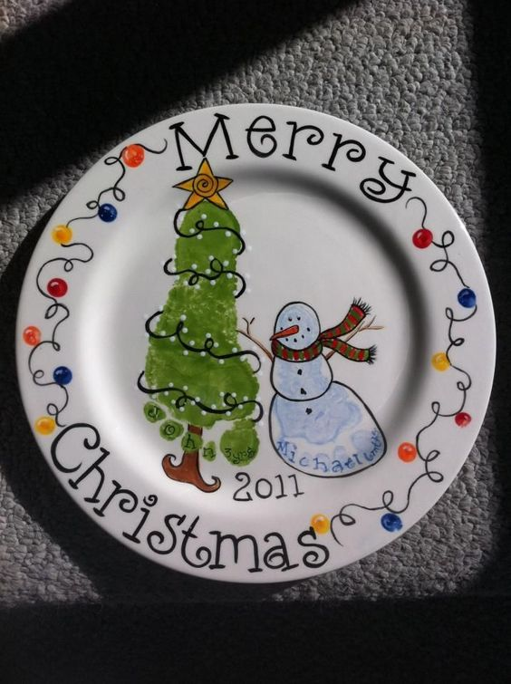 Footprint Christmas Plate