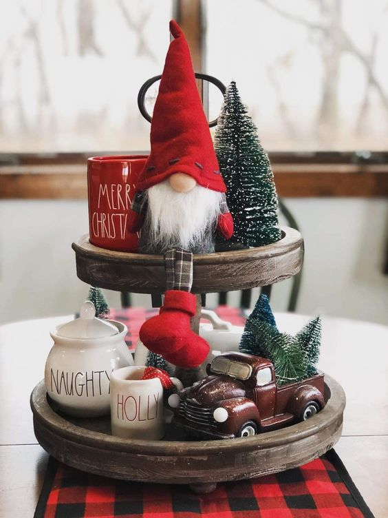 3 Tier Christmas Tray with Gnome