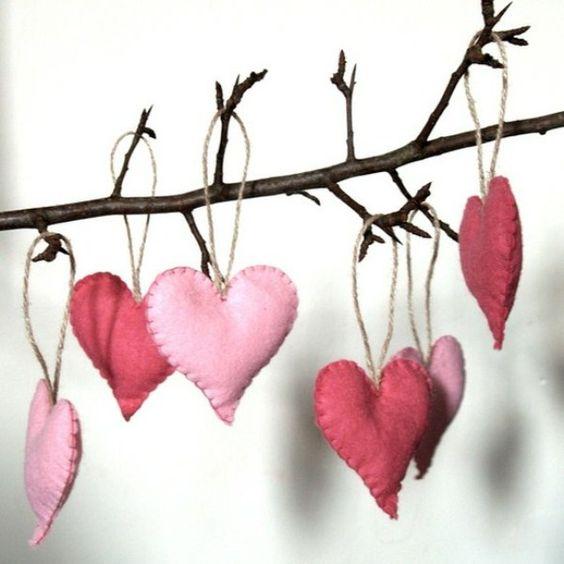 Valentines Front Porch Decor - Felt Hearts
