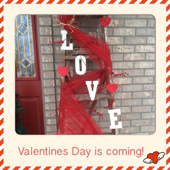 Valentines Front Porch Decor - Valentine's Day decorated ladder