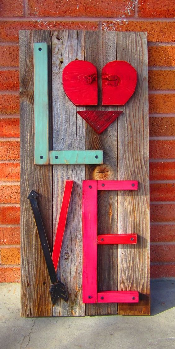 Valentines Front Porch Decor - reclaimed wood porch sign