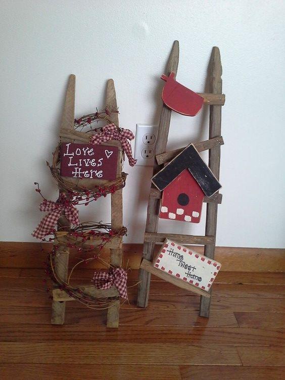 Valentines Front Porch Decor - Valentine's Ladder