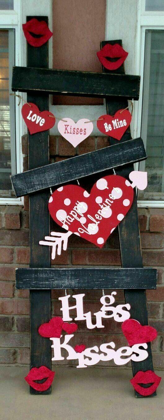 Valentines Front Porch Decor - Valentines Ladder