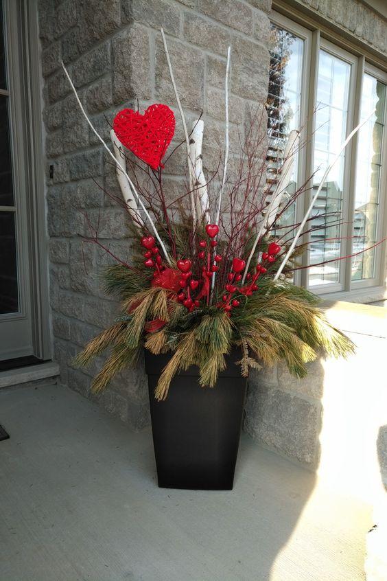 Valentines Front Porch Decor - Outdoor Planter